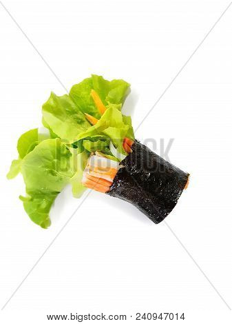 Thai Food Style,top View Rolled Hydroponic Vegetable Salad With  Imitation Crab Stick, Seaweed, Carr