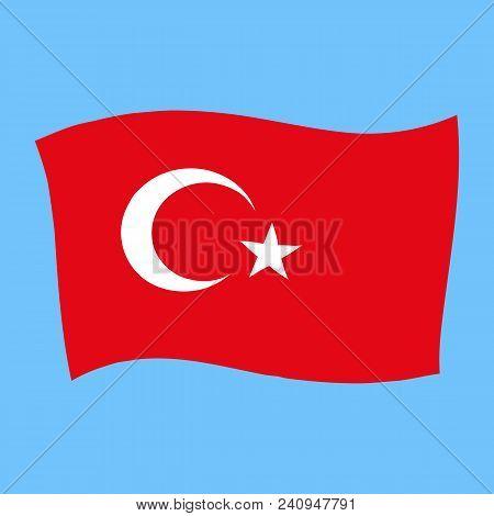 Turkey National Flag - Al Bayrak - Flying Vector Illustration