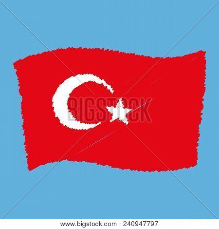 Turkey National Flag - Al Bayrak - Flying Grunge Pencil Drawing Sketching Isolated Vector Illustrati