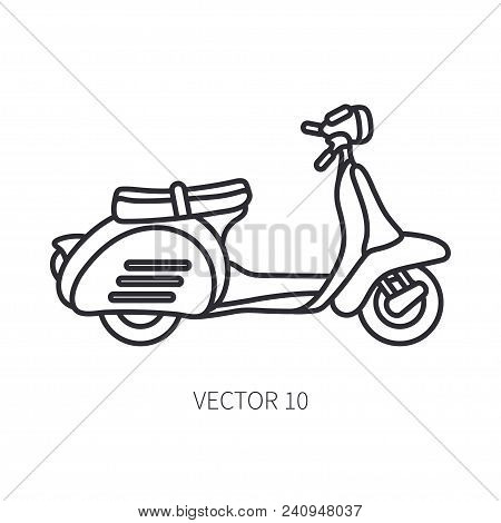 Line Vector Icon Retro Tourism Scooter. Classic 1950s Style. Nostalgia Subcompact Antique Motorcycle