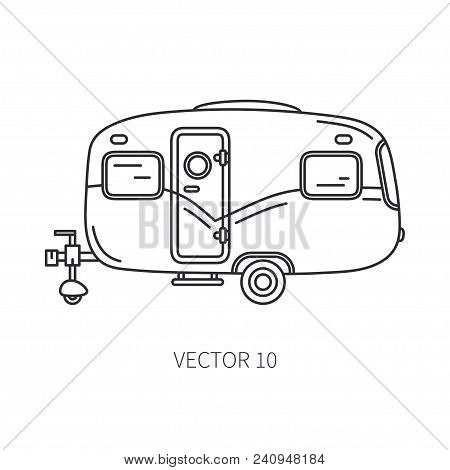 Line vector icon retro tourism auto trailer. Classic 1950s style. Nostalgia antique automobile family camping. Summer travel vacation. Vintage cartoon car. Highway ride. Van. Illustration for design. poster