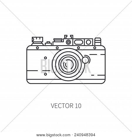 Retro 35mm Film Camera Vector Line Icon. Summer Travel Vacation, Tourism, Camping. 1960s Style. Old