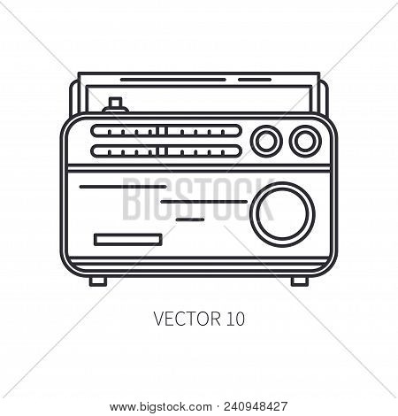 Retro Broadcast Fm Radio Tuner Vector Line Icon. Summer Travel Vacation, Tourism, Camping. 1960s Sty