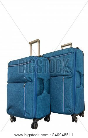 Two Turquoise Travel Suitcases On White Background. Isolate. Voyage With Big Suitcase