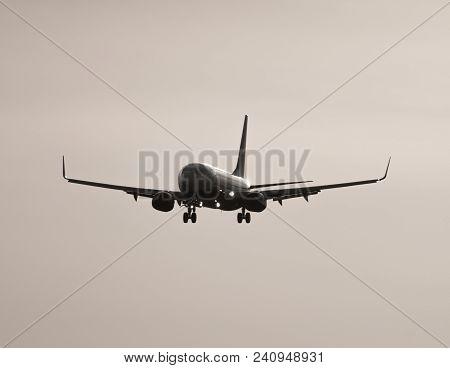 Long Shot Of Jumbo Jet Landing, High Contrast