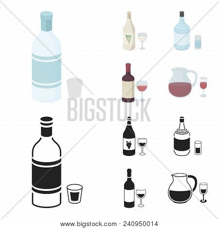 White Wine, Red Wine, Gin, Sangria.alcohol Set Collection Icons In Cartoon, Black Style Vector Symbo