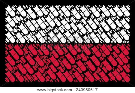 Poland Flag Pattern Organized Of Aviation Bomb Pictograms. Flat Vector Aviation Bomb Icons Are Organ