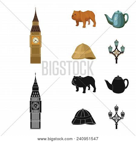 Breed Dog, Teapot, Brewer .england Country Set Collection Icons In Cartoon, Black Style Vector Symbo