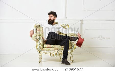 Man With Beard And Mustache Sits On Armchair, Holds Book, White Wall Background. Reflections On Lite