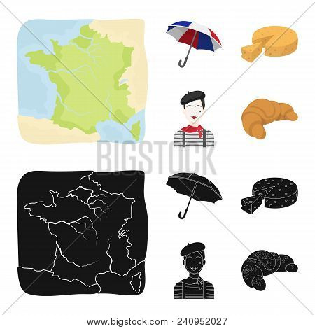 Umbrella, Traditional, Cheese, Mime .france Country Set Collection Icons In Cartoon, Black Style Vec