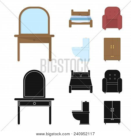 A Bed, An Armchair, A Toilet, A Wardrobe.furniturefurniture Set Collection Icons In Cartoon, Black S