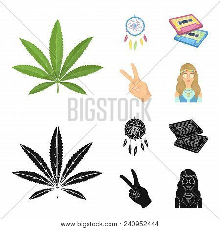 Amulet, Hippie Girl, Freedom Sign, Old Cassette.hippy Set Collection Icons In Cartoon, Black Style V