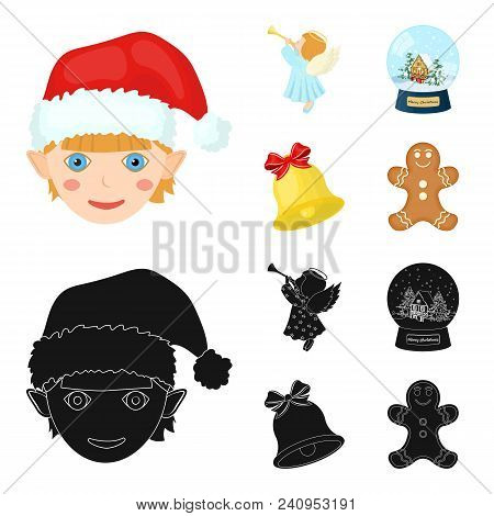 Angel, Glass Bowl, Gingerbread And Bell Cartoon, Black Icons In Set Collection For Design. Christmas