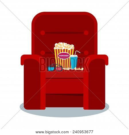 Auditorium And Red Comfortable Armchair In The Cinema. Drinks And Popcorn, Glasses For Movie Flat Ve