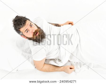 Morning And Wake Up Concept. Man On Surprised Face, Morning, Need To Get Up, White Background. Man W