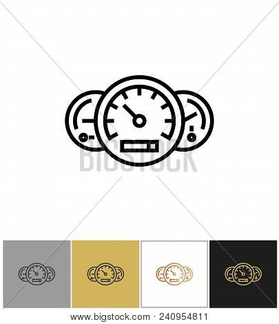 Speedometer Icon, Odometer And Fuel Full Signs On White And Black Backgrounds. Vector Illustration