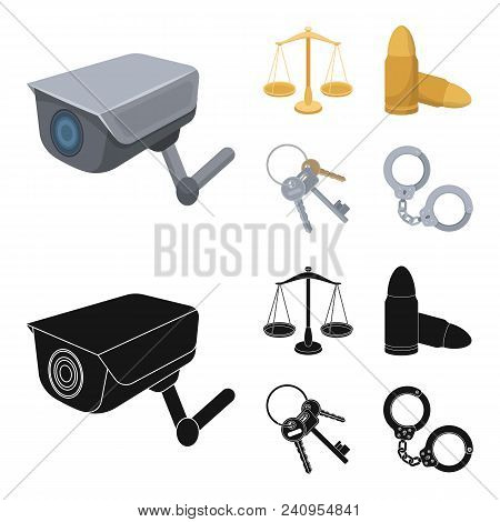Scales Of Justice, Cartridges, A Bunch Of Keys, Handcuffs.prison Set Collection Icons In Cartoon, Bl