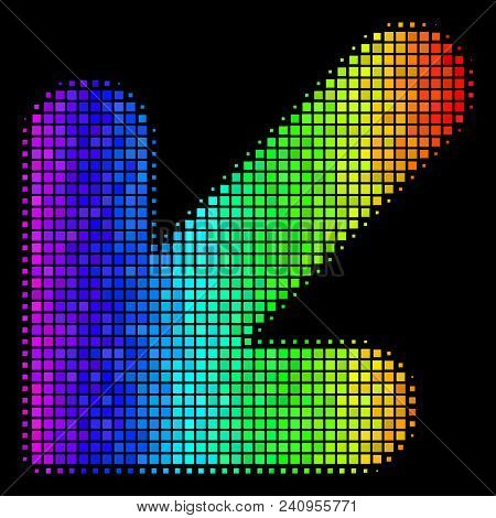 Dotted Impressive Halftone Arrow Down Left Icon In Spectrum Color Tones With Horizontal Gradient On