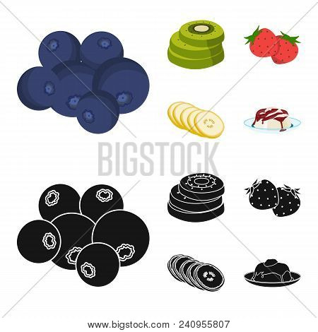 Fruits And Other Food. Food Set Collection Icons In Cartoon, Black Style Vector Symbol Stock Illustr
