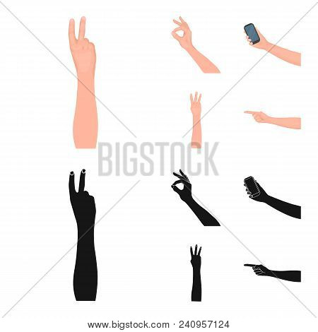 Sign Language Cartoon, Black Icons In Set Collection For Design.emotional Part Of Communication Vect