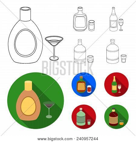 Liquor Chocolate, Champagne, Absinthe, Herbal Liqueur.alcohol Set Collection Icons In Outline, Flat