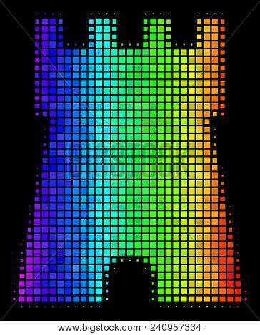 Pixelated Colorful Halftone Bulwark Tower Icon Using Spectrum Color Tones With Horizontal Gradient O