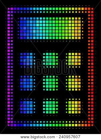 Pixel Impressive Halftone Calculator Icon In Spectral Color Hues With Horizontal Gradient On A Black