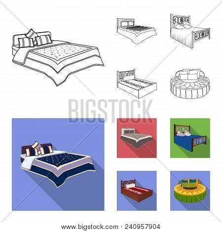 Different Beds Outline, Flat Icons In Set Collection For Design. Furniture For Sleeping Vector Isome