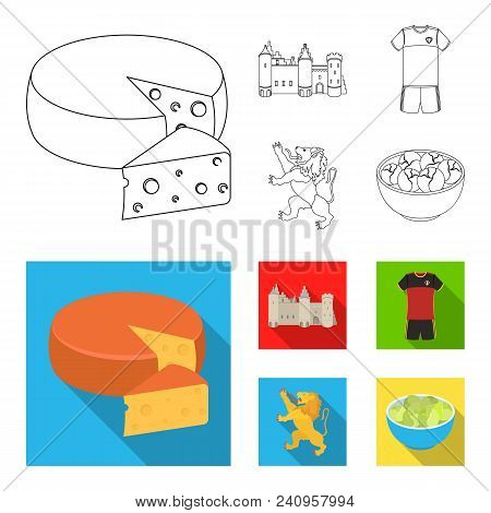 Cheese, Lion And Other Symbols Of The Country.belgium Set Collection Icons In Outline, Flat Style Ve