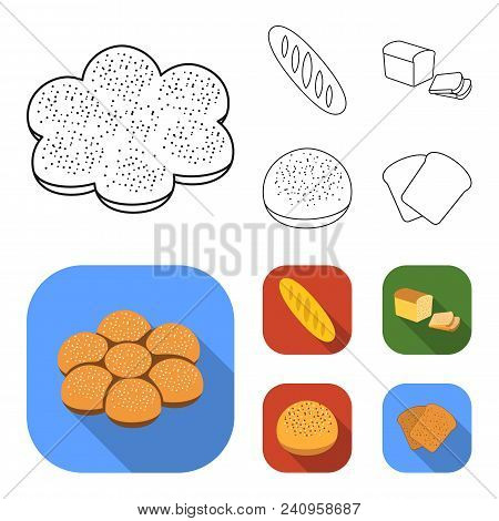 Cut Loaf, Bread Roll With Powder, Half Of Bread, Baking.bread Set Collection Icons In Outline, Flat