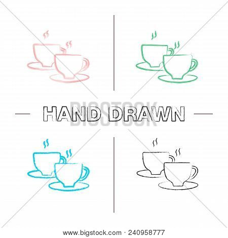 Cups With Hot Drink Hand Drawn Icons Set. Color Brush Stroke. Coffee, Tea, Cocoa. Isolated Vector Sk