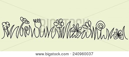 Abstract Meadow One Line Drawing - Vector Illustration