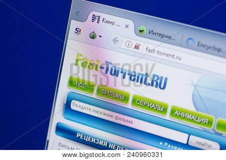 Ryazan, Russia - May 13, 2018: Fast-torrent Website On The Display Of Pc, Url - Fast-torrent.ru