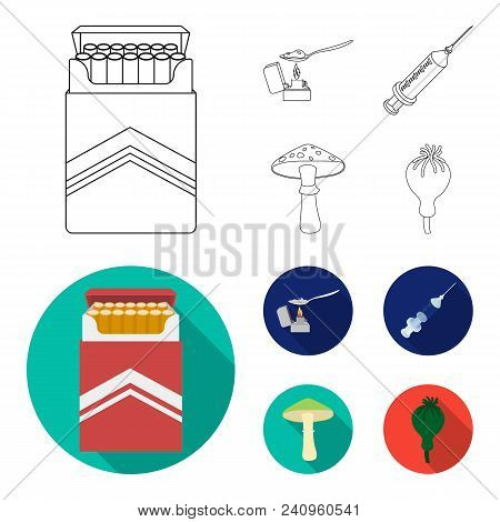 Cigarettes, A Syringe, A Galoyucinogenic Fungus, Heroin In A Spoon.drug Set Collection Icons In Outl