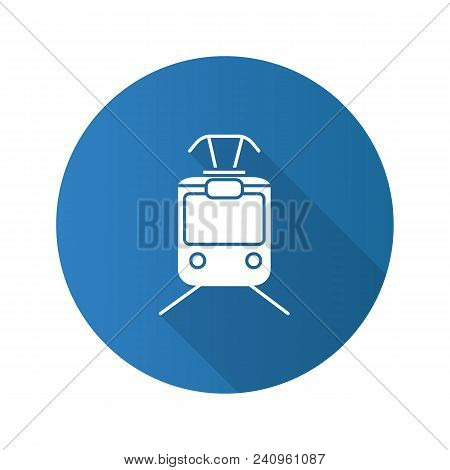 Tram Flat Design Long Shadow Glyph Icon. Tramcar, Streetcar. Trolley Car. Vector Silhouette Illustra