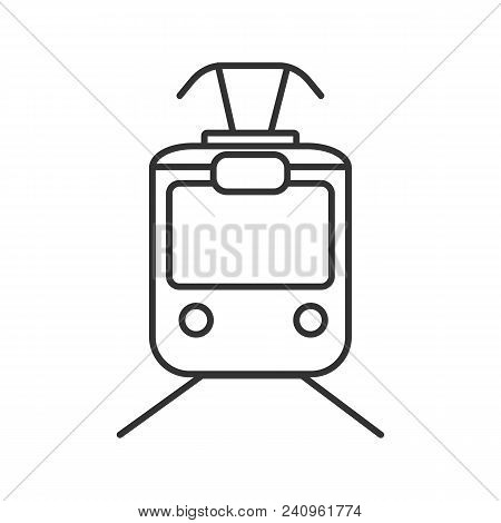 Tram Linear Icon. Thin Line Illustration. Tramcar, Streetcar. Trolley Car. Contour Symbol. Vector Is