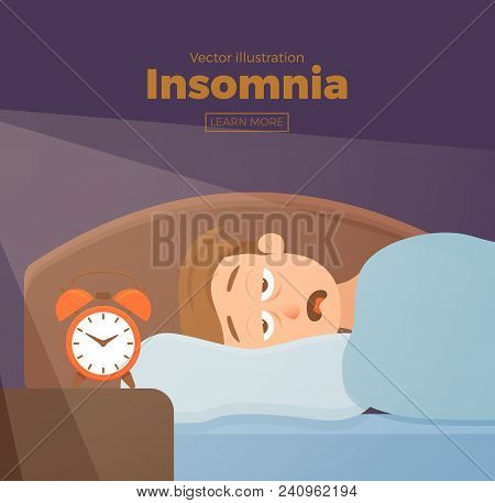 Sleepless Man Face Cartoon Character Suffers From Insomnia. Guy With Open Eyes In Darkness Night Lyi