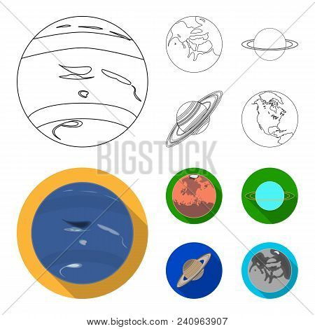 Neptune, Mars, Saturn, Uranus Of The Solar System. Planets Set Collection Icons In Outline, Flat Sty