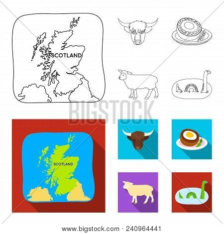 Territory On The Map, Bull Head, Cow, Eggs. Scotland Country Set Collection Icons In Outline, Flat S