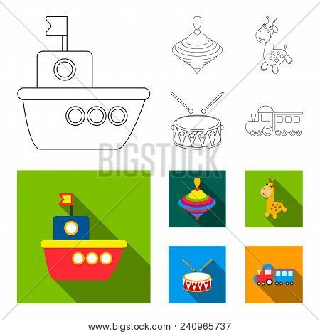 Ship, Yule, Giraffe, Drum.toys Set Collection Icons In Outline, Flat Style Vector Symbol Stock Illus