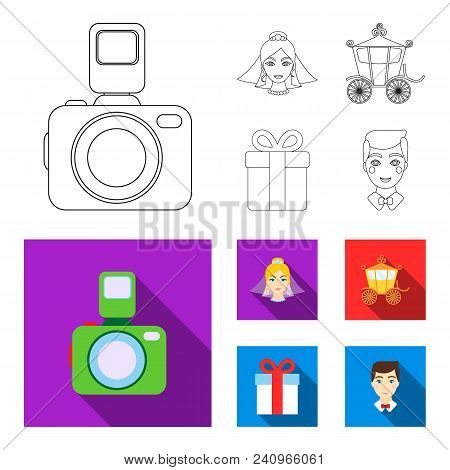 Bride, Photographing, Gift, Wedding Car. Wedding Set Collection Icons In Outline, Flat Style Vector