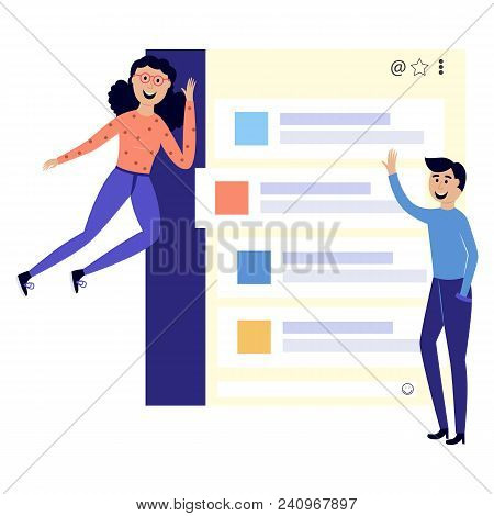 Young Cheerful Man Standing, Woman In Casual Clothing Flying With Chat Clouds. Accessibility Of Info