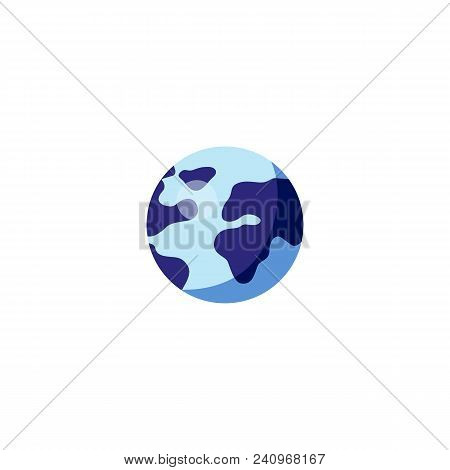 Blue Shade Earth Globe Icon. Global Planet Symbol. Geography Travel. Environment And Internet Object