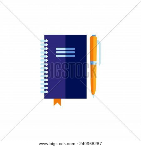 Blue Personal Organizer With Orange Pen. Blank Planner, Notebook Or Diary Note Pad. Education And Bu