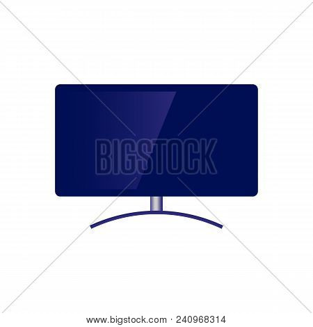 Blue Modern Television Set With Wide Flatscreen Icon. Didital Technologies And Media Entertainment D