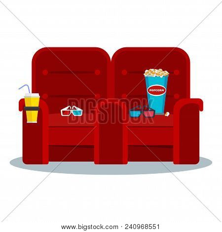 Auditorium And Two Red Comfortable Armchairs In The Cinema. Drinks And Popcorn, Glasses For Movie. F