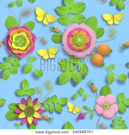 Vector Paper Craft 3d Wild Rose Flowers, Rosehip Berries And Butterfly Seamless Pattern. Illustratio