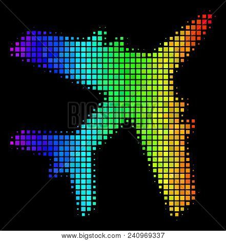 Dotted Colorful Halftone Jet Plane Icon In Rainbow Color Shades With Horizontal Gradient On A Black