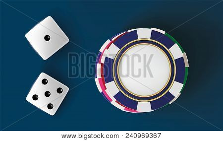 Casino Background Dice And Chips. Top View Of Dice And Chips On Blue Background. Online Casino Table