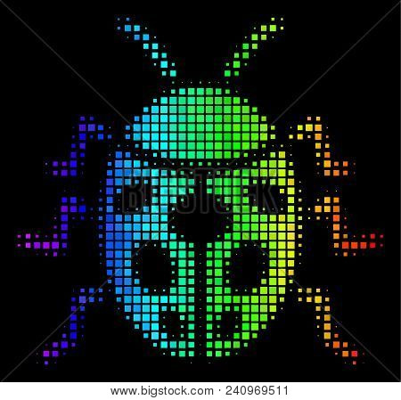Dot Impressive Halftone Ladybird Bug Icon Using Spectrum Color Shades With Horizontal Gradient On A
